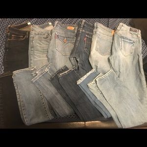 6 pair of jeans